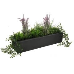 Enjoyplanter Polyester plantenbak Velvet 90x25x20 cm   Antraciet-zwart